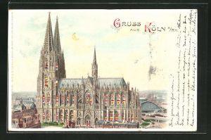Lithographie Köln, Der Kölner Dom, Halt gegen das Licht: beleuchtete Fenster
