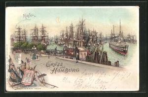 Lithographie Hamburg, Schiffe im Hafen, Halt gegen das Licht: Laternen auf den Schiffen