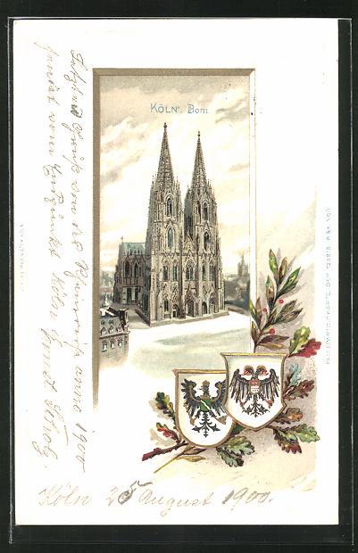 Passepartout-Lithographie Köln, Der Kölner Dom, Wappen mit Eichenlaub und Lorbeer