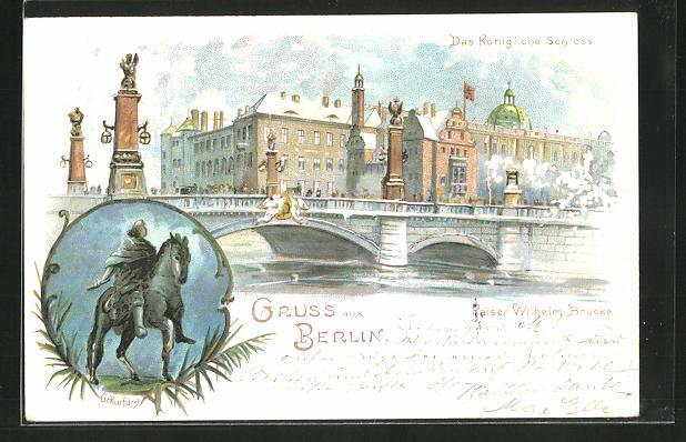 Winter-Lithographie Berlin, Königliches Schloss und Kaiser Wilhelm-Brücke