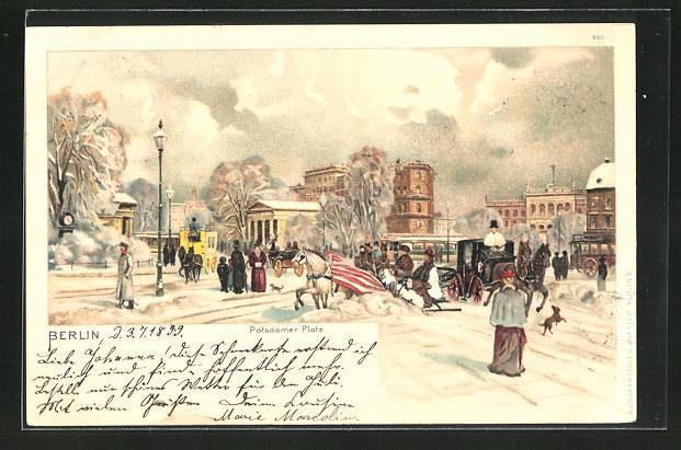 Winter-Lithographie Berlin-Tiergarten, Verkehr auf dem verschneiten Potsdamer Platz
