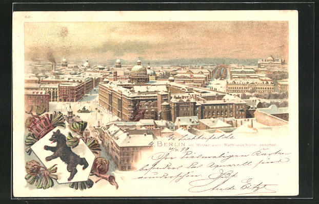 Winter-Lithographie Berlin, Blick vom Rathausthurm