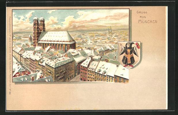 Winter-Lithographie München, Frauenkirche im Stadtbild 0