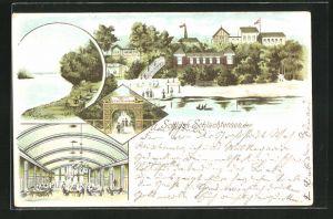 Lithographie Berlin-Zehlendorf, Ansichten vom Restaurant Schloss Schlachtensee