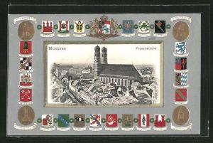 Passepartout-Lithographie München, Frauenkirche im Stadtbild, Wappen deutscher Städte