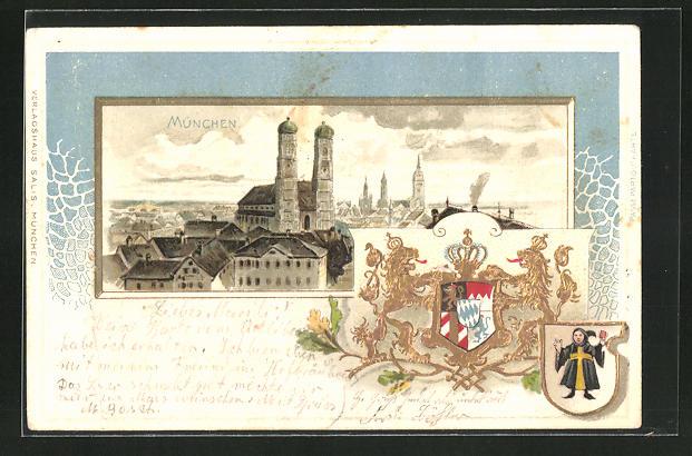 Passepartout-Lithographie München, Blick auf die Frauenkirche, Wappen