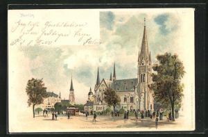 Lithographie Berlin-Kreuzberg, Kaiser-Friedrich-Platz (Südstern) mit neuer Garnisonkirche