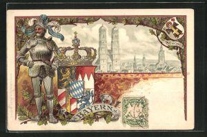 Passepartout-Lithographie München, Frauenkirche im Stadtbild, Ritter in Rüstung und Wappen