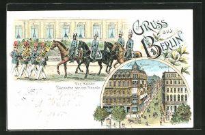 Lithographie Berlin, Cafe Bauer und Cafe Kranzler, Kaiser nach der Parade