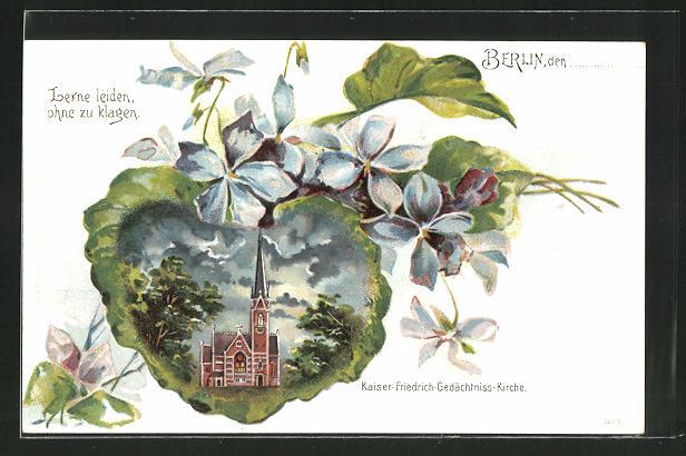 Passepartout-Lithographie Berlin-Tiergarten, Kaiser-Friedrich-Gedächtnis-Kirche mit Blumen