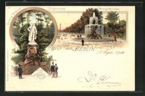 Lithographie Berlin-Tiergarten, Siegesallee u. Wrangelbrunnen, Lessing-Denkmal