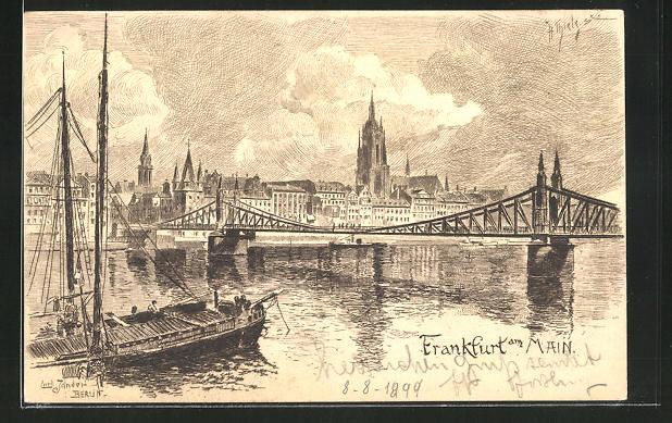 Künstler-AK Carl Jander: Alt-Frankfurt, Mainbrücke mit Blick zum Dom