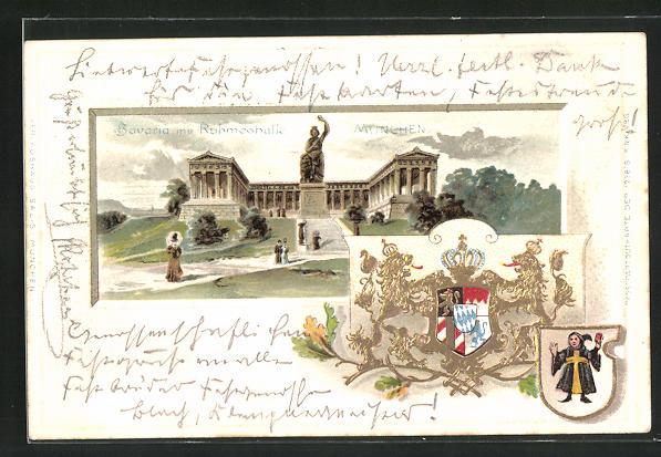 Passepartout-Lithographie München, Bavaria mit Ruhmeshalle, Wappen