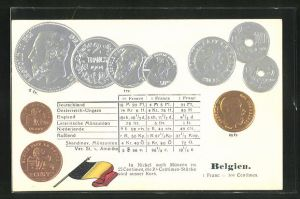 Präge-AK Belgien, Geldmünzen, Münzenkarte und Nationalflagge