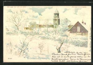 Lithographie Winter u. Sommer, Ortspartie im Schnee, Halt gegen das Licht
