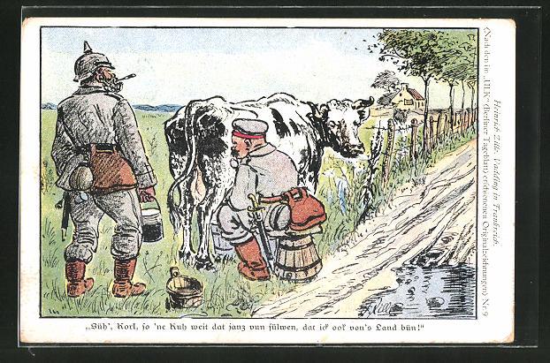 Künstler-AK Heinrich Zille: Vadding in Frankreich, Soldat melkt eine Kuh