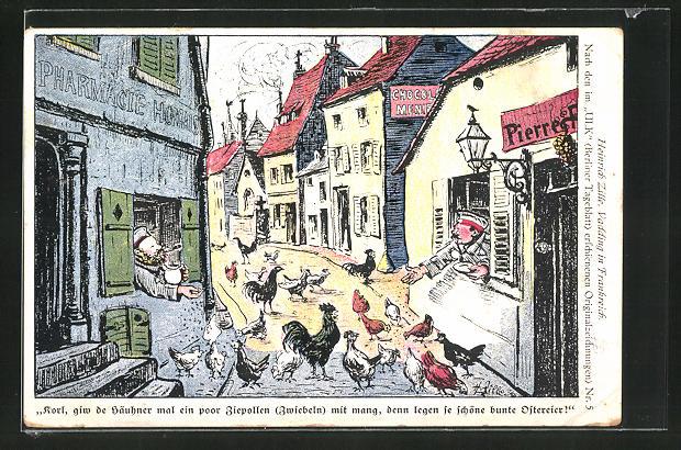 Künstler-AK Heinrich Zille: Vadding in Frankreich, Soldaten füttern die Hühner auf der Strasse