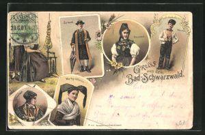 Lithographie Männer und Frauen in Schwarzwälder Tracht, Frau am Spinnrad