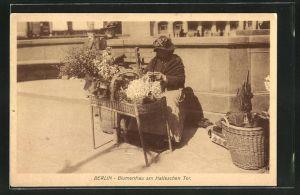 AK Berlin, Blumenfrau am Halleschen Tor