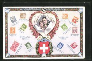 AK Briefmarkensprache, Paar im blumigen Herz-Rahmen zwischen Briefmarken, Schweizer Wappen