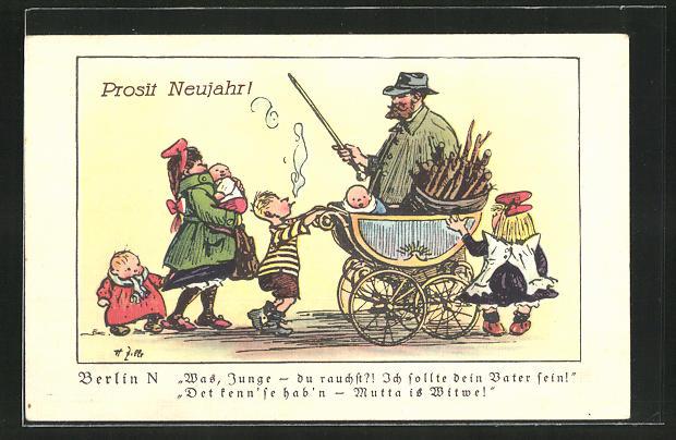 Künstler-AK Heinrich Zille: Was, Junge - du rauchst?! Ich sollte dein Vater sein!