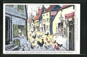 Künstler-AK Heinrich Zille: Soldaten füttern aus den Fenstern ihrer Quartiere die Hühner