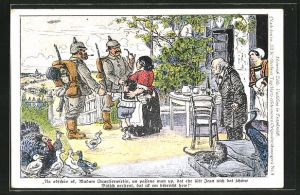 Künstler-AK Heinrich Zille: Deutsche Soldaten verabschieden sich von ihrer französischen Quartierwirtin
