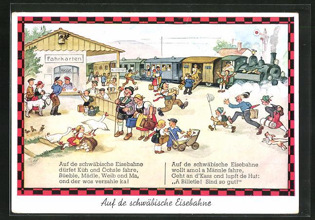 Künstler-AK Hans Boettcher: Auf de schwäbische Eisebahne, Auf de schwäbische Eisenbahne dürfet Küh und....