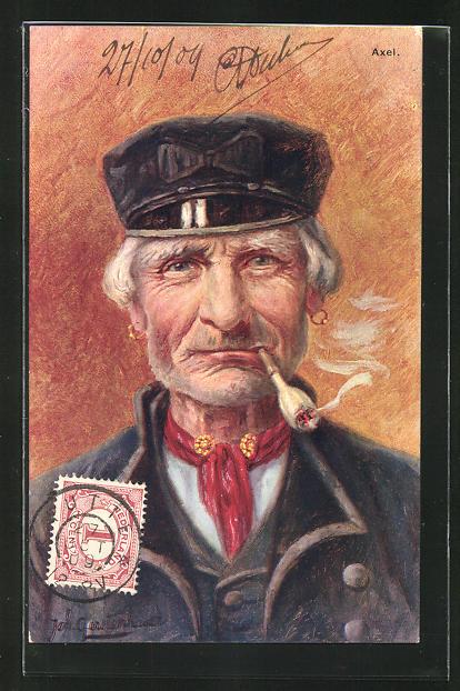 Künstler-AK Johan Georg Gerstenhauer: Alter Seemann mit Zigarette und umgebundenem, rotem Tuch