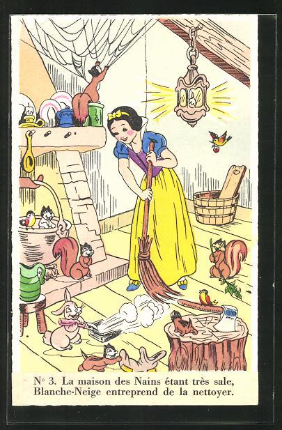 AK Comic, Walt Disneys Schneewittchen, Tiere und Schneewittchen säubern die Küche