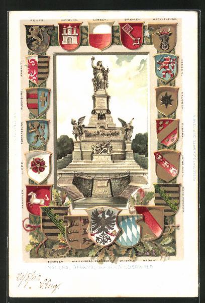 Passepartout-Lithographie National Denkmal auf dem Niederwald, versch. Wappen