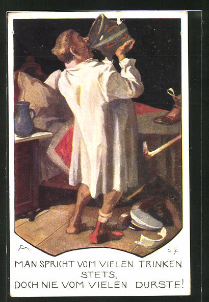AK Mann im Nachthemd trinkt aus einem Krug