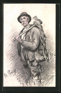Künstler-AK sign.Fr. Prölss: alter Mann mit Axt