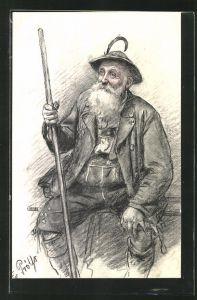 Künstler-AK sign.Fr. Prölss: alter Mann in Tracht