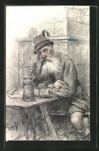 Künstler-AK sign.Fr. Prölss: alter Mann in Tracht am Ofen