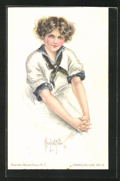 Künstler-AK Alice Luella Fidler: Portrait junges Mädchen