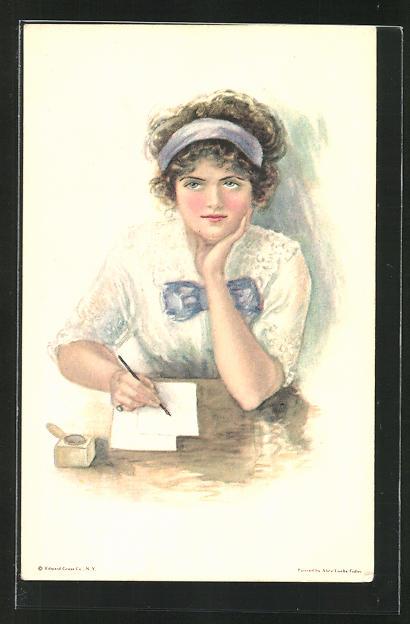 Künstler-AK Alice Luella Fidler: Portrait junge Dame am Schreibtisch