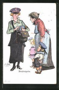 Künstler-AK Heinrich Zille: Briefträgerin, Mutter mit Kinder