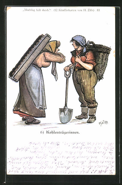 Künstler-AK Heinrich Zille: Kohlenträgerinnen
