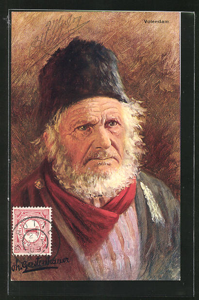 Künstler-AK Johan Georg Gerstenhauer: Volendam, alter Mann mit Hut