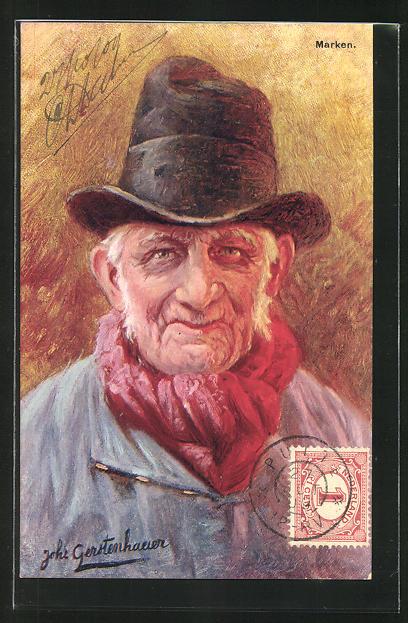 Künstler-AK Johan Georg Gerstenhauer: Marken, alter Mann mit Hut