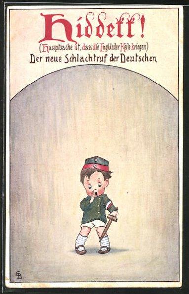 Künstler-AK Carl Diehl: Propaganda 1. Weltkrieg, Hauptsache ist, dass die Engländer Keile kriegen, Kind in Uniform