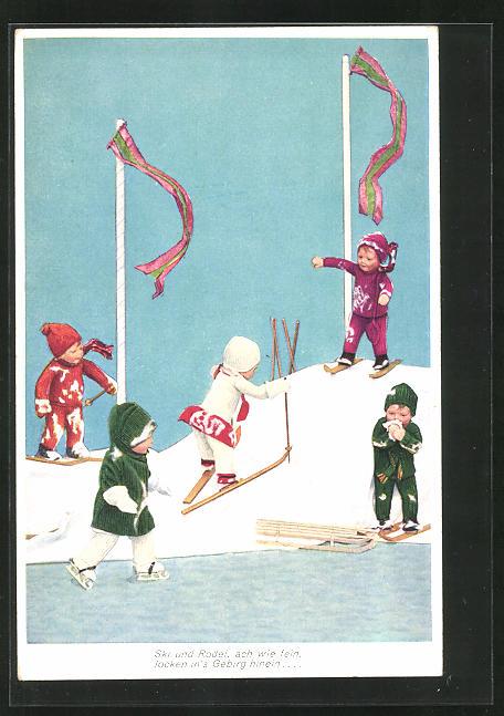 AK Käthe Kruse-Puppen beim Wintersport