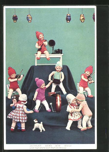 AK Käthe Kruse-Puppen tanzen zur Jazzmusik