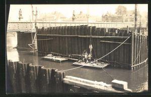 Foto-AK Essen-Werden, Umbau der Königsbrücke 1932