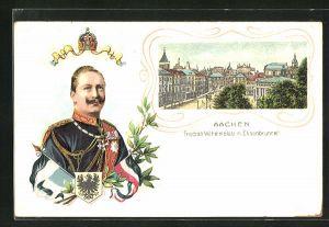 Lithographie Aachen, Friedrich-Wilhelmplatz m. Elisenbrunnen, Portrait Kaiser Wilhelm II. in Uniform