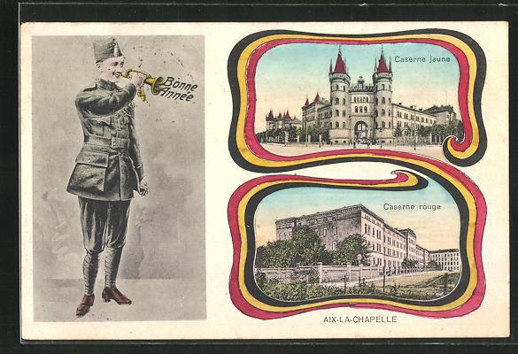 AK Aachen / Aix-la-Chapelle, Caserne jaune, caserne rouge, Soldat mit Trompete