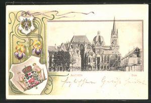 Präge-Passepartout-Lithographie Aachen, Dom mit Wappen