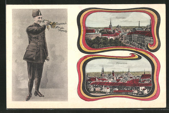 AK Aachen / Aix-la-Chapelle, Caserne jaune, Caserne rouge, Soldat mit Trompete bläst zum Appell