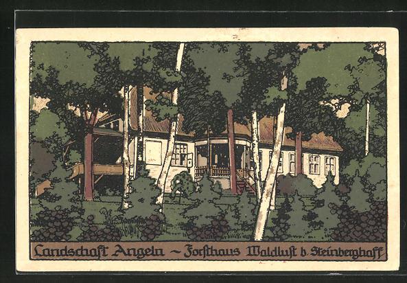 Steindruck-AK Steinberghaff, Ansicht vom Forsthaus Waldlust
